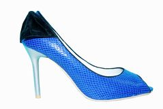Fancy blue shoes. Isolated on white background royalty free stock photography