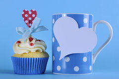 Fancy blue theme cupcake with coffee Royalty Free Stock Photography
