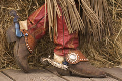 Fancy Boots. Red cowgirl boots with spurs Stock Photography
