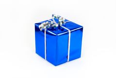 Fancy box 2. Gift box of blue color with a silvery tape Stock Photo
