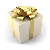 Fancy box. Fancy box with golden ribbon  on white background Royalty Free Stock Photography