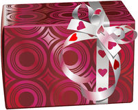Fancy box. Vector illustration of a fancy box with ribbon of hearts Royalty Free Stock Photo