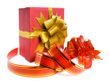 Fancy box and ribbon for ornamentation. Stock Photos