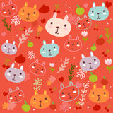Fancy Bunny pattern. Red pattern,bunny and fruity Stock Photography