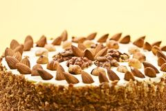 Fancy cake. Macro picture of cake with almonds and nut Royalty Free Stock Images