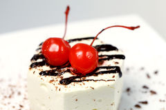 Fancy cake with cherry Stock Photo