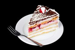 Fancy cake with cherry on top Stock Image