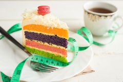 Fancy cake with measure tape and cup of tea Royalty Free Stock Photography