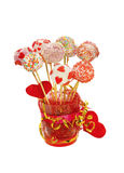 Fancy cake pops decorated for Valentine's day Royalty Free Stock Photography