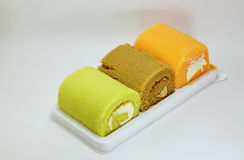 Fancy cake roll on tray Stock Photography