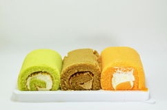 Fancy cake roll on tray Royalty Free Stock Image