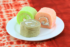 Fancy cake rolls Stock Photos
