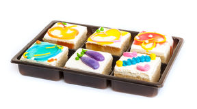 Fancy cakes . Piece of fancy cakes on white background Stock Image