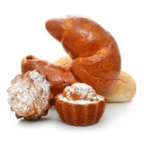 Fancy cakes and croissant isolated Stock Image