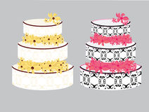Fancy cakes isolated. Decorated cakes with flowers between layers on a gray background stock illustration