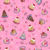 Fancy Cakes Seamless Repeat Pattern. Fancy Cakes Sweets Seamless Repeat Pattern Vector Illustration Stock Photos