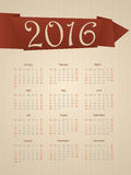 Fancy calendar with ribbon for year 2016 Stock Photography