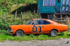 Fancy car, Chiloe Island, Chile Royalty Free Stock Image