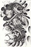 Fancy Carp Fish for Tattoo. Art design fancy carp fish Hand pencil drawing on paper Stock Photo