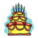 Fancy Cartoon Cake. A fun vector illustration of a three layer cake with candles Stock Photos