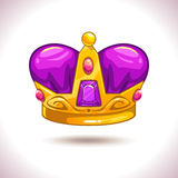 Fancy cartoon vector golden crown icon Royalty Free Stock Photography