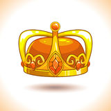 Fancy cartoon vector golden crown icon. Royalty Free Stock Photography