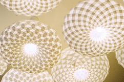 Fancy ceiling lamps. Fancy white modern lamps on the ceiling royalty free stock photo
