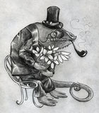 Fancy chameleon character. Fancy chameleon gentelman, cartoonish character wearing hat, smoking pipe and waiting for someone to give flowers to. Pencil drawing Royalty Free Stock Images