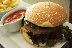 Fancy cheeseburger Royalty Free Stock Images