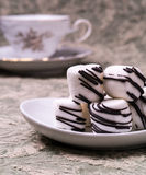 Fancy Chocolate Striped Marshmallows stock photography