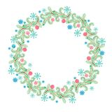 Fancy Christmas wreath with decorative balls, pine tree branches and cones. watercolor hand drawn illustration. stock photo