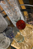 Fancy cocktail glasses and crackled glass Stock Image