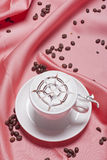 Fancy coffee. Pink the silk backdrop of the coffee Stock Photos