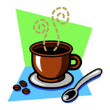 Fancy Coffee Cup. A vector illustration of a coffee cup with steam and a spoon and coffee beans and a colorful background Stock Images