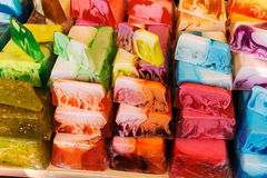 Fancy colored hand made blocks of soap Stock Photo