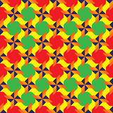 Fancy colorful decorative seamless pattern with different geometrical shapes of red, green, blue, orange and yellow colors Royalty Free Stock Photos