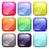 Fancy colorful glossy buttons. Set with bubbles in,  isolated Royalty Free Stock Image