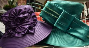 Fancy hat for derby day. Fancy, colorful hat for a formal occasion such as church, Kentucky Derby, a wedding or meeting the queen stock photo