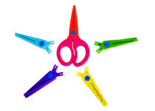 Fancy Colourful Scissors On The White Background Royalty Free Stock Images