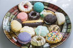 Fancy Cookies on a Plate. A delicious arrangement of fancy cookies on a plate Stock Image