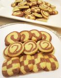 Fancy Cookies. On white plate on table.n Royalty Free Stock Image