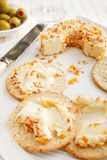 Cream Cheese and Crackers Royalty Free Stock Photos