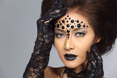 Fancy Creative Talent Make up and Hair style on Asian Beautiful royalty free stock image