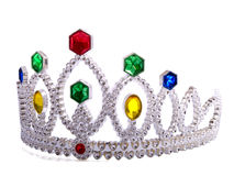 Fancy Crown. A crown for a fancy princess on a satin background Royalty Free Stock Images
