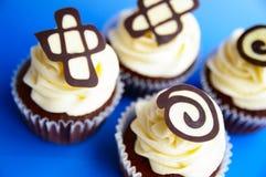 Fancy cupcakes. Fancy chocolate gourmet cupcakes, closeup Stock Photo
