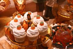 Fancy cupcakes. For the holiday meals Royalty Free Stock Photo