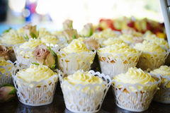 Fancy cupcakes. With vanilla icing Royalty Free Stock Photography