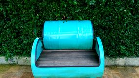 Fancy Cyan Chair. In front of greeny background stock photo