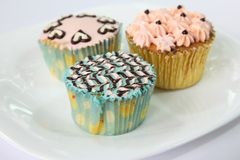 Fancy decorated cupcakes. Dessert cake with frosting Royalty Free Stock Photo
