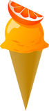 Fancy decorated ice cream. Cone orange flavor, illustration Royalty Free Stock Photos